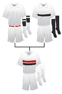 Origem do uniforme do São Paulo — à esquerda o uniforme do C.A. Paulistano  e à direita o uniforme da A.A. das Palmeiras ece2b415cdbf2