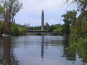 Obelisk in downtown Plattsburgh, NY, by the Sa...