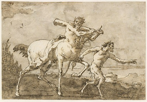 Satyr Leading a Centaur, Who Carries a Club, Bow and Quiver, Outside the Walls of a City MET DT3229