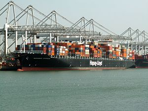 Savannah Express, at the Amazone harbour, Port of Rotterdam, Holland 04-May-2006.jpg