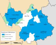 Carte de la Savoie par zones de densité médicale