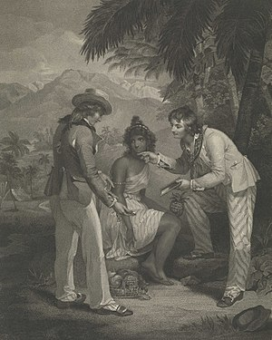Great Bengal famine of 1770 - Print by Henry Singleton and Charles Knight entitled Scarcity in India, 1794, depicting a two sailors bargaining with an Indian woman, offering a mirror and watch in exchange for fruit