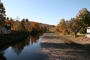 Schoharie Creek - An autumn view of the Schoharie Creek, facing Northwest from the Schoharie creek bridge