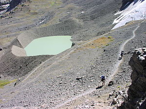 Proglacial lake - A proglacial lake is impounded by the terminal moraine of the retreating Schoolroom Glacier in Grand Teton National Park, Wyoming, USA.