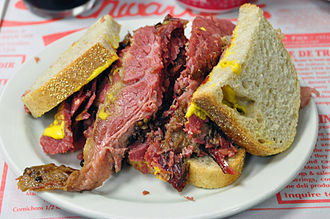 Smoking (cooking) - A Montreal smoked meat sandwich, a well-known Canadian dish