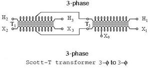 Scott-T transformer - Scott Connection 3-φ to 3-φ