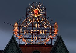 Scranton, Pennsylvania, restored historic Electric City sign by Carol Highsmith (LOC highsm.04369).jpg
