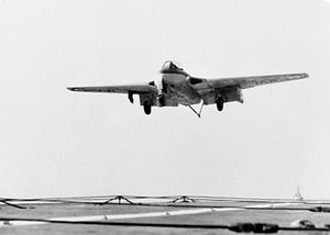 Sea Vampire landing on HMS Vengeance (R71) 1951.jpg
