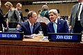 Secretary Kerry Chats with UN Secretary General Ban Ki-moon Before Delivering Speech at U.N. Herzog Commemoration in New York (22334460853).jpg