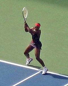 Williams hitting a return at the US open in 2006.