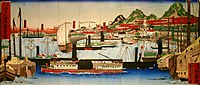 This Nishiki-e (Colored woodcut) shows a foreign steamboat entering Hyōgo Port shortly after its opening to the West in the late 19th century.