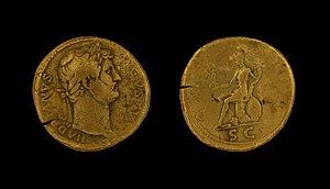 Gallia Aquitania - Sestertius of Hadrian found in the Garonne near Burdigala, from a shipwreck of 155/56 AD