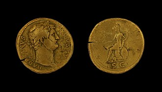Gallia Aquitania - Sestertius of Hadrian found in the Garonne near Burdigala, from a shipwreck of 155/56 AD
