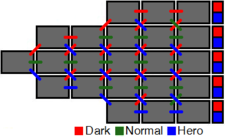 A diagram shows twenty-four white boxes, representing levels, arranged to show the possible progressions through the game.