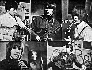 The Shadows of Knight - The band in 1966. Top, from left: Jerry McGeorge, Warren Rogers, Joe Kelley. Bottom from left: Jim Sohns and Tom Schiffour.