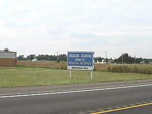 Sharon, Kansas - Sharon Welcome Sign signifying Martina McBride's home (2009)