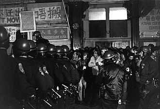 International Hotel (San Francisco) - Image: Sheriff deputies and San Francisco Police officers confront demonstrators