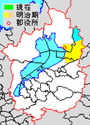 Sakata District, Shiga - Map of Sakata District with Meiji period (1890) area in yellow.