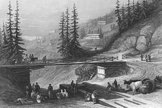 Shimla - The bridge connecting Shimla with Chhota Shimla, originally erected in 1829 by Lord Combermere, Shimla, 1850s