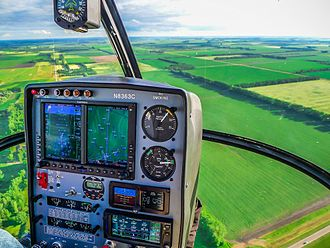 John D. Odegard School of Aerospace Sciences - An S-300 helicopter equipped with a Garmin G500H glass display proceeds on a test flight on its way to supplemental type certification from the FAA.