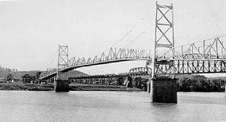 Ohio River - Silver Bridge in Point Pleasant, West Virginia which collapsed into the Ohio River on December 15, 1967, killing 46 persons.