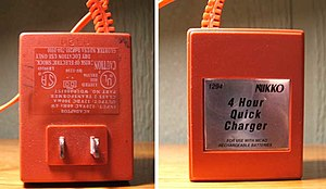 Battery charger - A simple charger equivalent to an AC/DC wall adapter. It applies 300mA to the battery at all times, which will damage the battery if left connected too long.