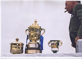 Waterloo Cup - Sir Mark Prescott and the cups, February 2005