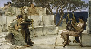 Ancient Greek literature - A nineteenth-century painting by the English painter Sir Lawrence Alma-Tadema depicting the poetess Sappho gazing on in admiration as the poet Alcaeus plays the lyre