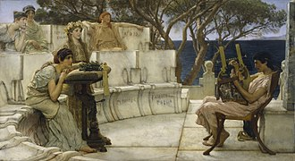 Cithara - Alcaeus of Mytilene playing a kithara while Sappho listens in Sappho and Alcaeus by Lawrence Alma-Tadema (1881; The Walters Art Museum).