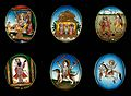 Six circular gouache paintings of Hindu gods, 19th century Wellcome V0047495.jpg