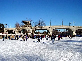 Old Ottawa South - The Bank Street Bridge and canal in winter. The canal marks the northern boundary of Old Ottawa South.