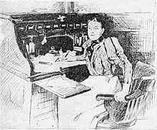 Pencil sketch of a woman in Victorian dress seated at a roll-top desk littered with papers