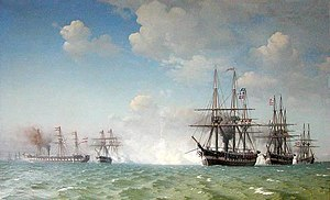 Battle of Heligoland (1864) - Another painting of the battle, Slaget ved Helgoland, depicting the Danish ships in the foreground with the burning Schwarzenberg on fire in the distance