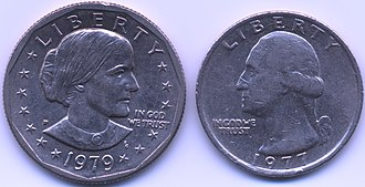 Susan B. Anthony dollar - The similarity in size and material composition between the Susan B. Anthony dollar (left) and the Washington quarter (right) caused confusion in transactions.