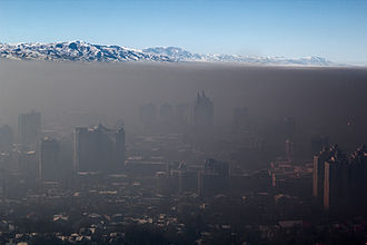Inversion (meteorology) - Smog trapped over the city of Almaty, Kazakhstan during a temperature inversion.