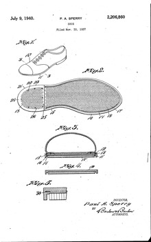 The patent application for the Paul A. Sperry's Sperry Authentic Original  boat shoe.