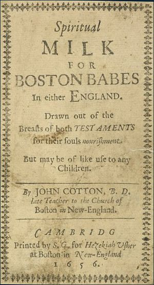 Spiritual Milk for Boston Babes - Cover page of 1656 edition, printed in America