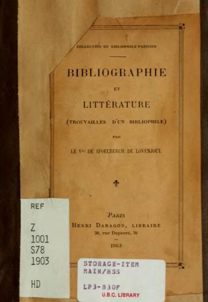 File:Spoelberch de Lovenjoul - Bibliographie et Littérature, 1903.djvu