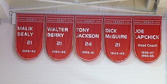 Walter Berry (basketball) - Image: St. John's retired numbers 21,21,21, and 24