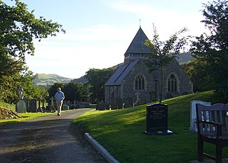 Llandinam village in the county of Powys, Wales