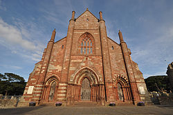 Colour photograph of the exterior of St Magnus Cathedral, Kirkwall Orkney, showing the main entrance