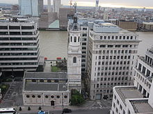 St Magnus the Martyr and Adelaide House from the top of The Monument.JPG