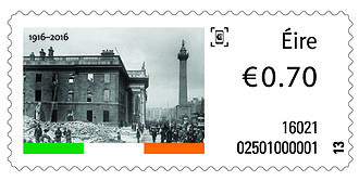 Postage stamps of Ireland - Stamp with photograph of destroyed General Post Office
