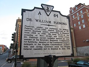 William Fleming (governor) - Historic marker in Staunton, Virginia.