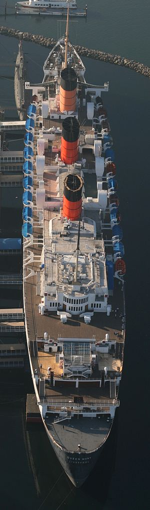 RMS Queen Mary - Overhead view of Queen Mary docked at Long Beach in 2008