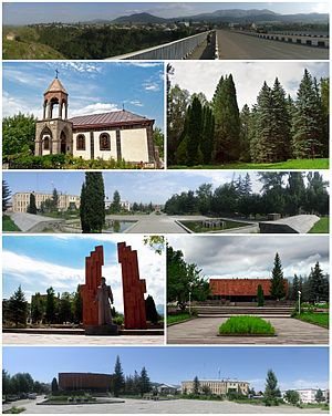 From top left: Panoramic view of StepanavanSurp Sarkis Church • Stepanavan DendroparkDowntown StepanavanMemorial to Stepan Shaumian • Stepan Shaumian MuseumStepanavan central square