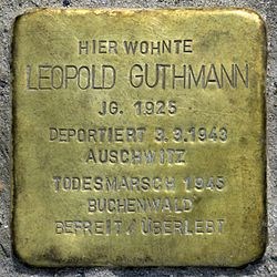 Photo of Leopold Guthmann brass plaque