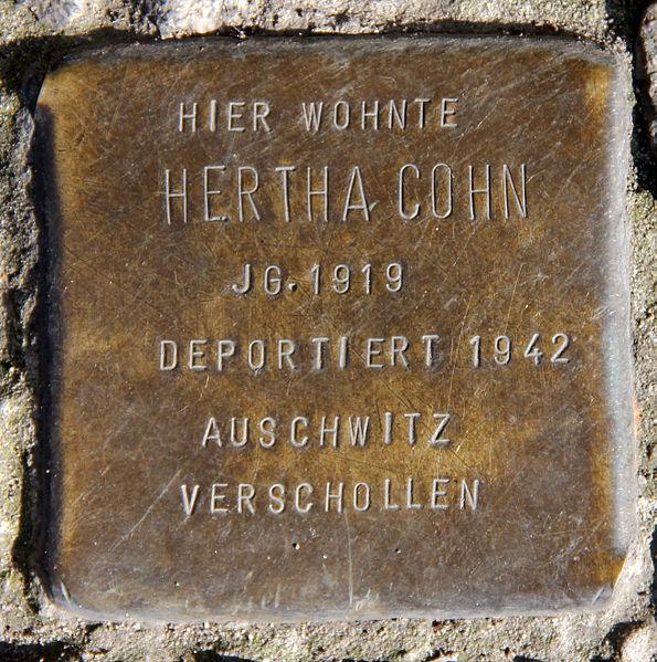 File:Stolperstein Blücherstr 61b (Kreuzb) Hertha Cohn.jpg