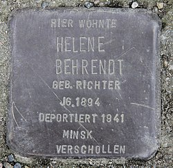 Photo of Helene Behrendt brass plaque