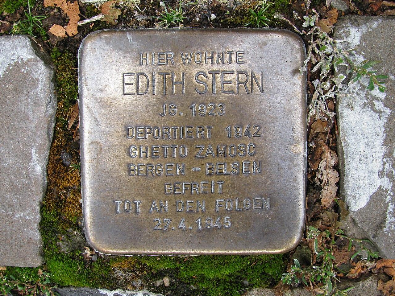 Stolperstein Edith Stern, 1, Weststraße 44, Schmallenberg, Hochsauerlandkreis.jpg